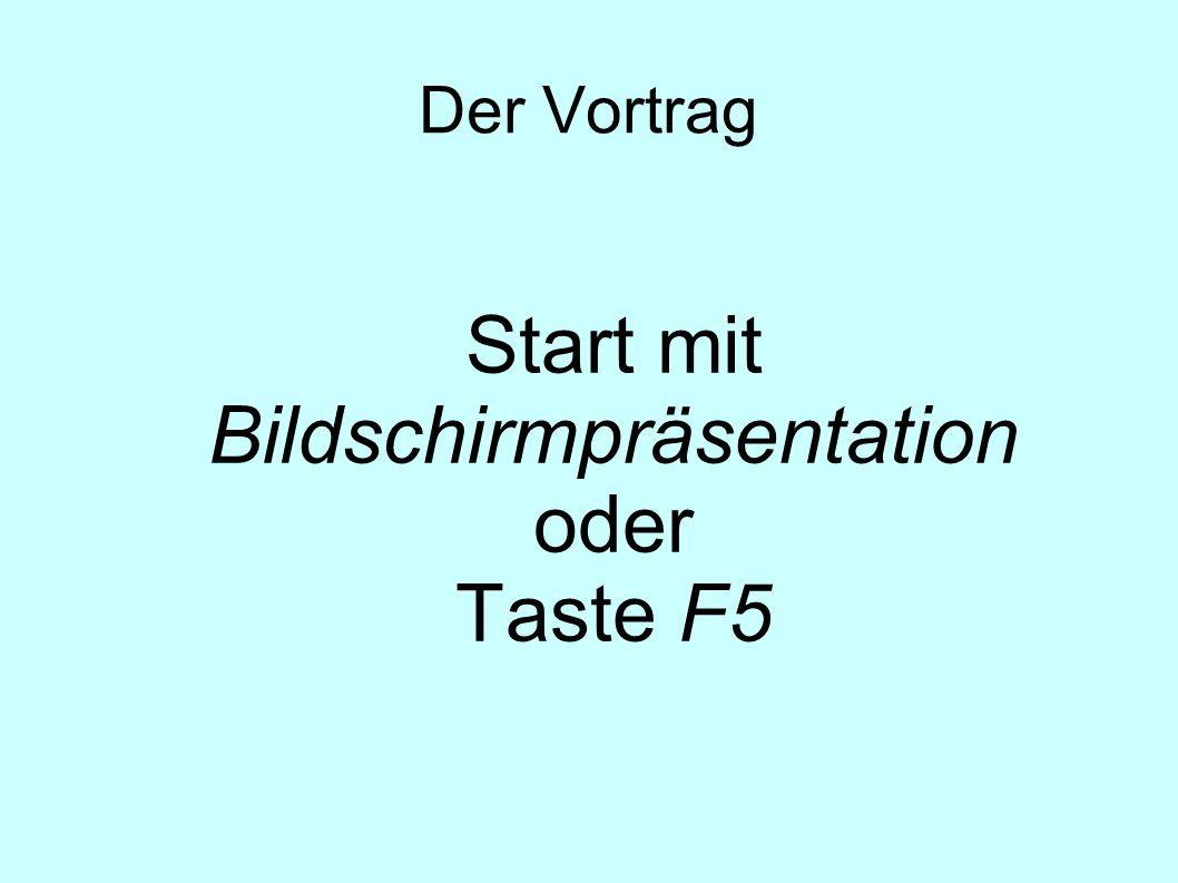 Der Vortrag Start mit Bildschirmpräsentation oder Taste F5