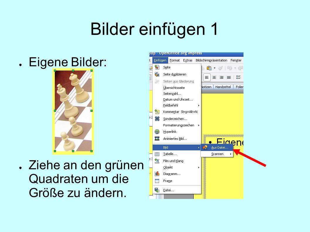 Bilder einfügen 1 Eigene Bilder: Ziehe an den grünen Quadraten um die Größe zu ändern.