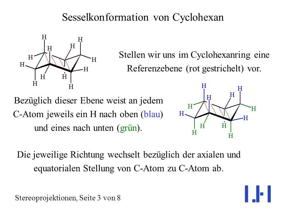 Sesselkonformation von Cyclohexan Stereoprojektionen, Seite 3 von 8 Stellen wir uns im Cyclohexanring eine Referenzebene (rot gestrichelt) vor.