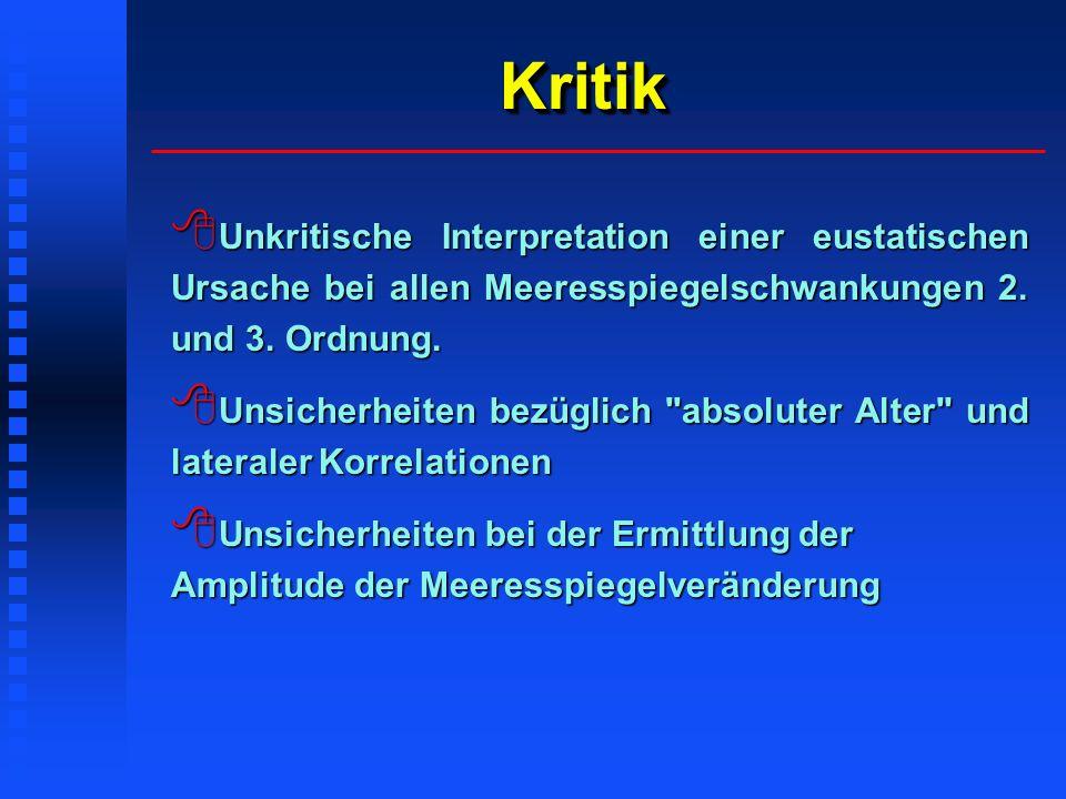 KritikKritik Unkritische Interpretation einer eustatischen Ursache bei allen Meeresspiegelschwankungen 2. und 3. Ordnung. Unkritische Interpretation e