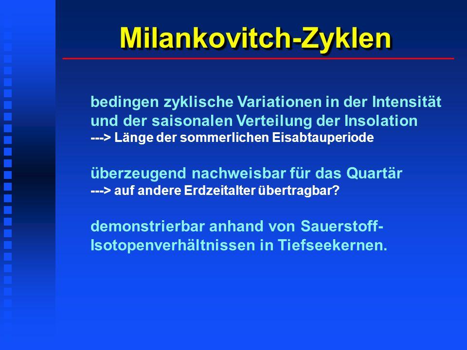 Milankovitch-ZyklenMilankovitch-Zyklen bedingen zyklische Variationen in der Intensität und der saisonalen Verteilung der Insolation ---> Länge der so