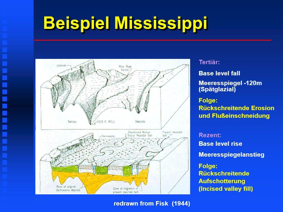 Beispiel Mississippi Tertiär: Base level fall Meeresspiegel -120m (Spätglazial) Folge: Rückschreitende Erosion und Flußeinschneidung Rezent: Base leve