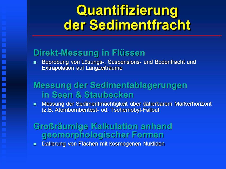 Quantifizierung der Sedimentfracht Direkt-Messung in Flüssen Beprobung von Lösungs-, Suspensions- und Bodenfracht und Extrapolation auf Langzeiträume