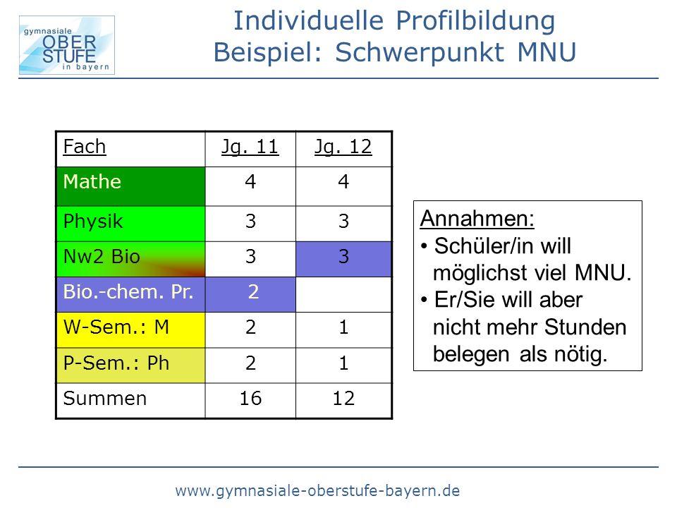 www.gymnasiale-oberstufe-bayern.de Individuelle Profilbildung Beispiel: Schwerpunkt MNU FachJg. 11Jg. 12 Mathe44 Physik33 Nw2 Bio33 Bio.-chem. Pr. 2 W