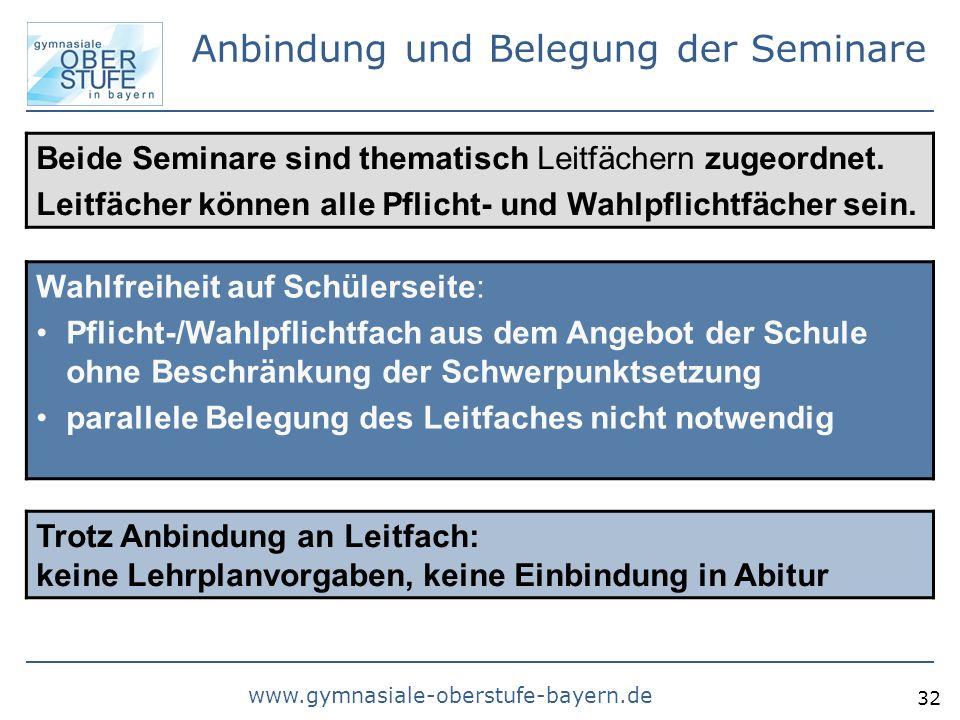 www.gymnasiale-oberstufe-bayern.de 32 Anbindung und Belegung der Seminare Beide Seminare sind thematisch Leitfächern zugeordnet. Leitfächer können all