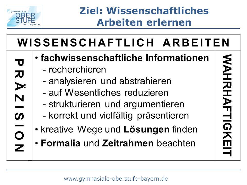 www.gymnasiale-oberstufe-bayern.de Ziel: Wissenschaftliches Arbeiten erlernen W I S S E N S C H A F T L I C H A R B E I T E N fachwissenschaftliche In