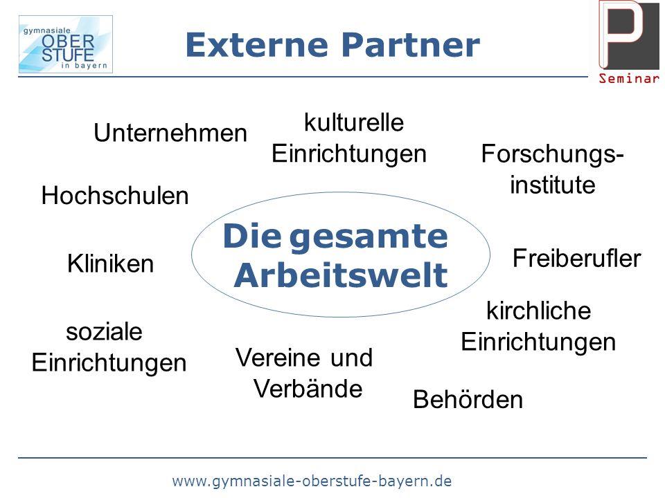 www.gymnasiale-oberstufe-bayern.de Externe Partner Die gesamte Arbeitswelt Unternehmen Behörden Forschungs- institute Kliniken soziale Einrichtungen k