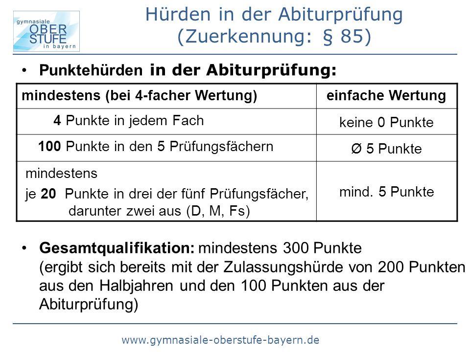 www.gymnasiale-oberstufe-bayern.de Hürden in der Abiturprüfung (Zuerkennung: § 85) mindestens (bei 4-facher Wertung)einfache Wertung 4 Punkte in jedem
