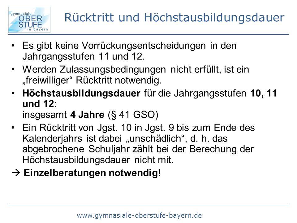 www.gymnasiale-oberstufe-bayern.de Rücktritt und Höchstausbildungsdauer Es gibt keine Vorrückungsentscheidungen in den Jahrgangsstufen 11 und 12. Werd