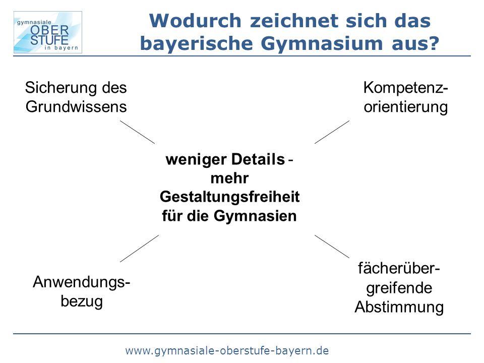www.gymnasiale-oberstufe-bayern.de Wodurch zeichnet sich das bayerische Gymnasium aus? Sicherung des Grundwissens Anwendungs- bezug Kompetenz- orienti