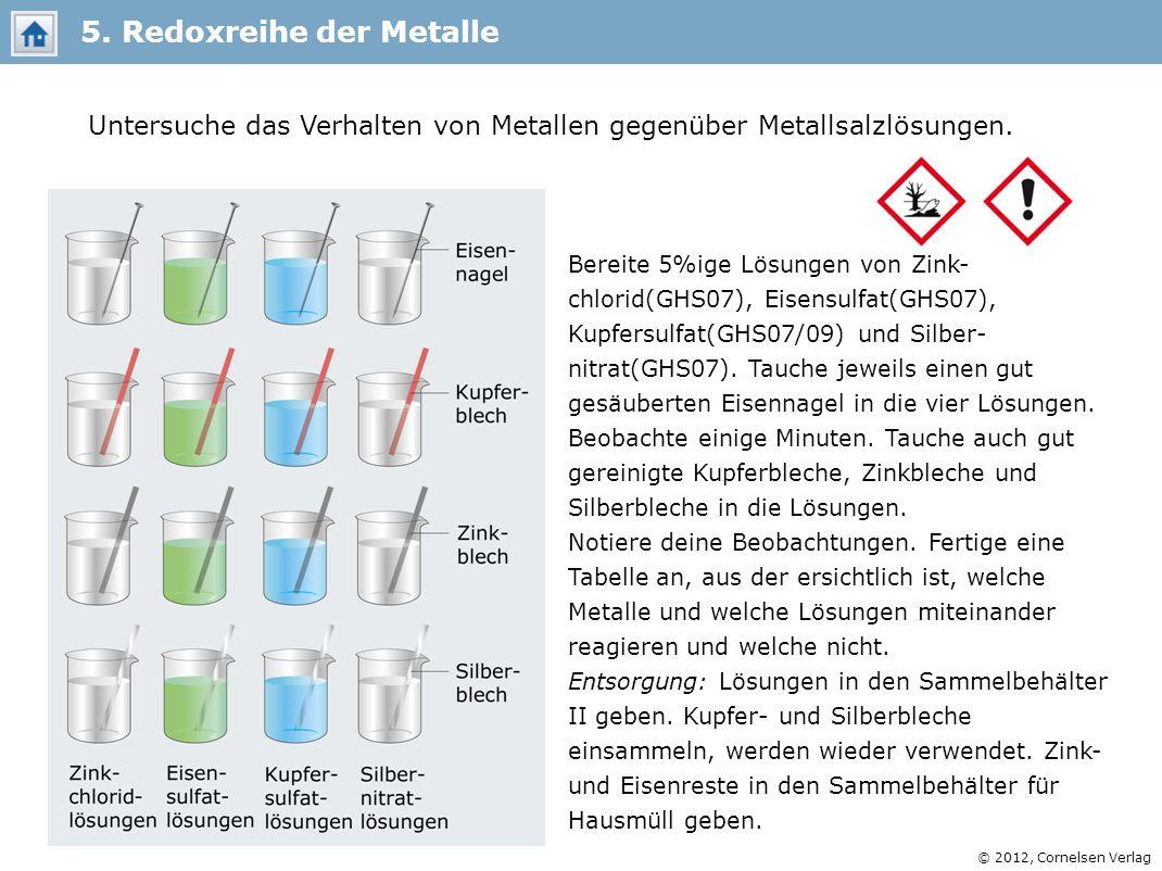 © 2012, Cornelsen Verlag Bereite 5%ige Lösungen von Zink- chlorid(GHS07), Eisensulfat(GHS07), Kupfersulfat(GHS07/09) und Silber- nitrat(GHS07). Tauche