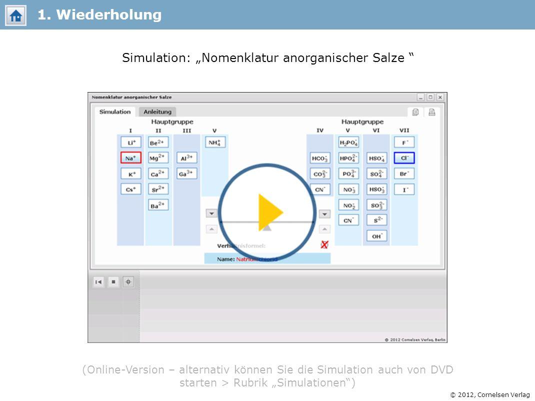 © 2012, Cornelsen Verlag Simulation: Nomenklatur anorganischer Salze 1. Wiederholung (Online-Version – alternativ können Sie die Simulation auch von D