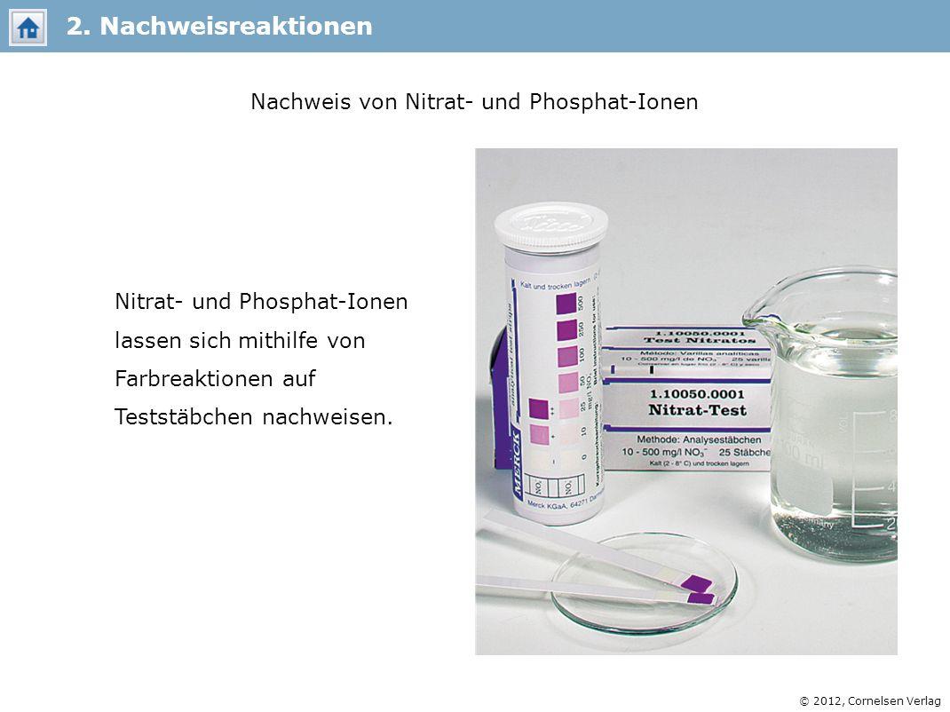 © 2012, Cornelsen Verlag 2. Nachweisreaktionen Nachweis von Nitrat- und Phosphat-Ionen Nitrat- und Phosphat-Ionen lassen sich mithilfe von Farbreaktio
