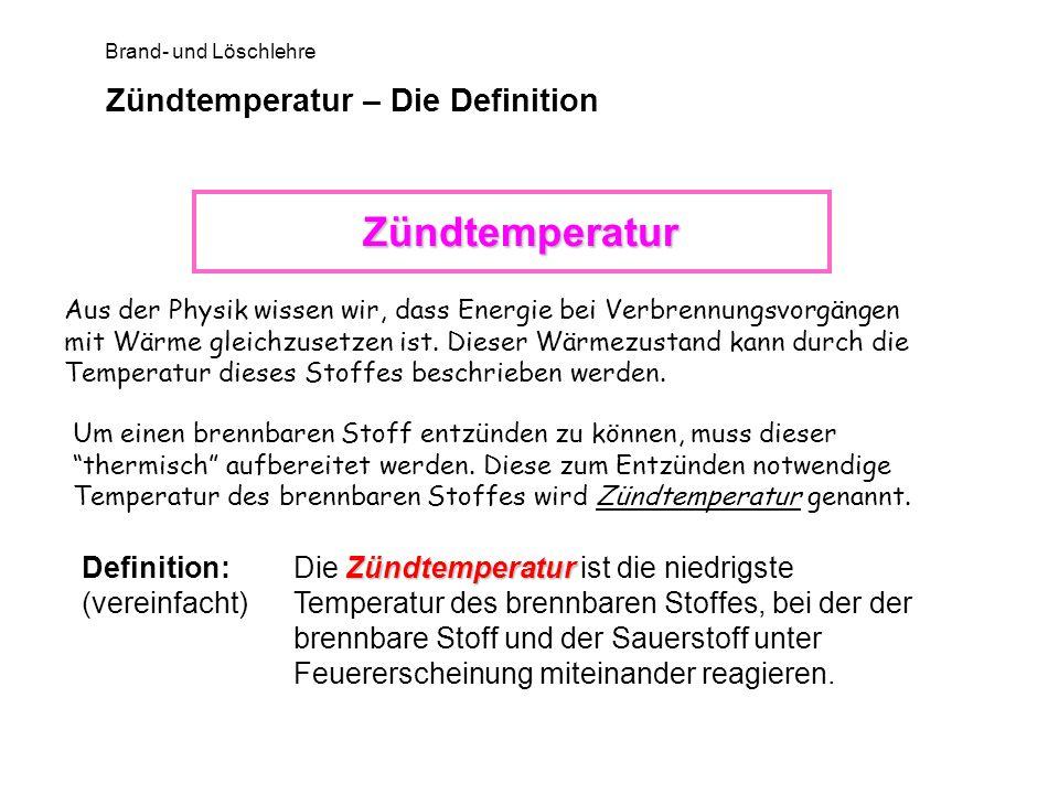 Brand- und Löschlehre Zündtemperatur – Die Definition Aus der Physik wissen wir, dass Energie bei Verbrennungsvorgängen mit Wärme gleichzusetzen ist.