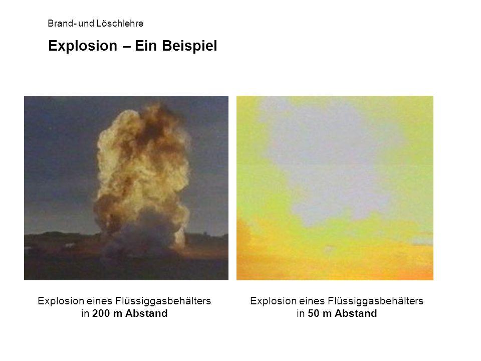Brand- und Löschlehre Explosion – Ein Beispiel Explosion eines Flüssiggasbehälters in 200 m Abstand Explosion eines Flüssiggasbehälters in 50 m Abstan