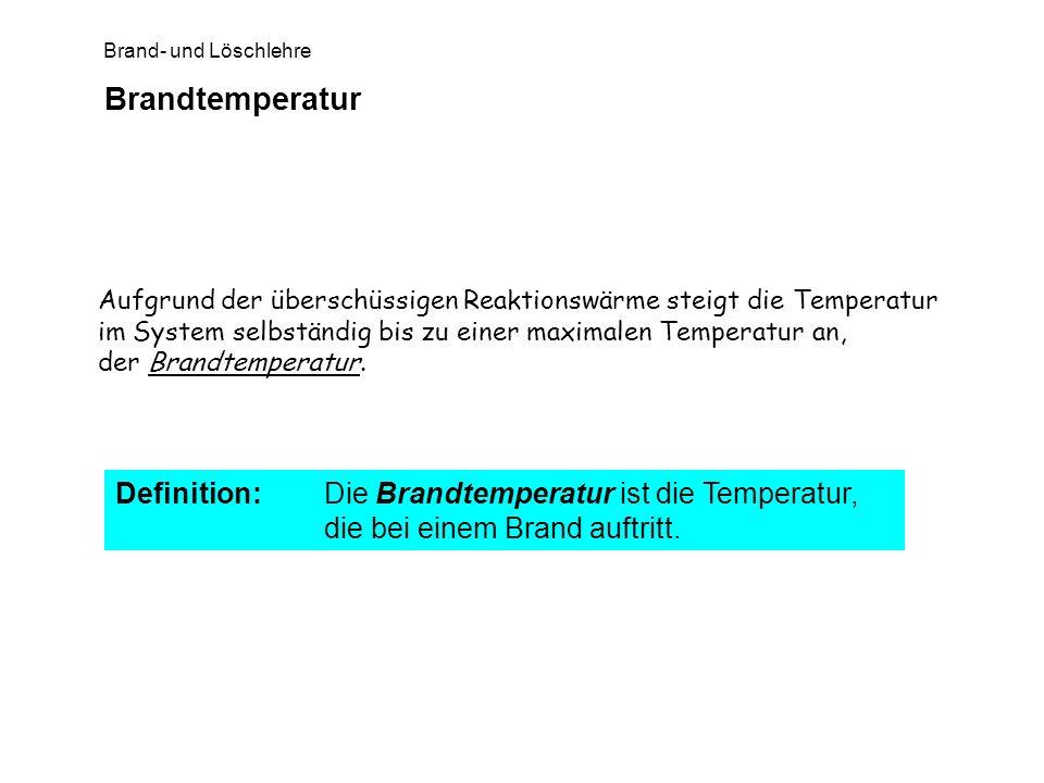 Brand- und Löschlehre Brandtemperatur Aufgrund der überschüssigen Reaktionswärme steigt die Temperatur im System selbständig bis zu einer maximalen Te