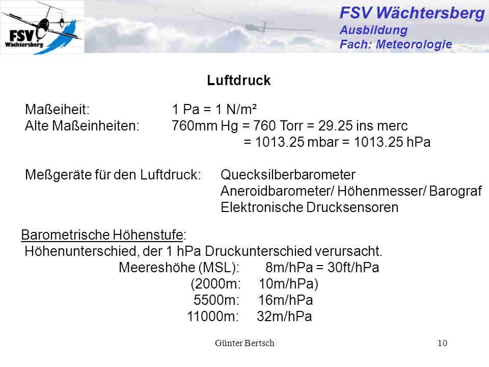 Günter Bertsch10 Luftdruck Barometrische Höhenstufe: Höhenunterschied, der 1 hPa Druckunterschied verursacht. Meereshöhe (MSL):8m/hPa = 30ft/hPa (2000