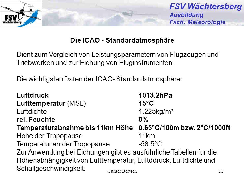 Günter Bertsch11 Die ICAO - Standardatmosphäre Dient zum Vergleich von Leistungsparametern von Flugzeugen und Triebwerken und zur Eichung von Fluginst