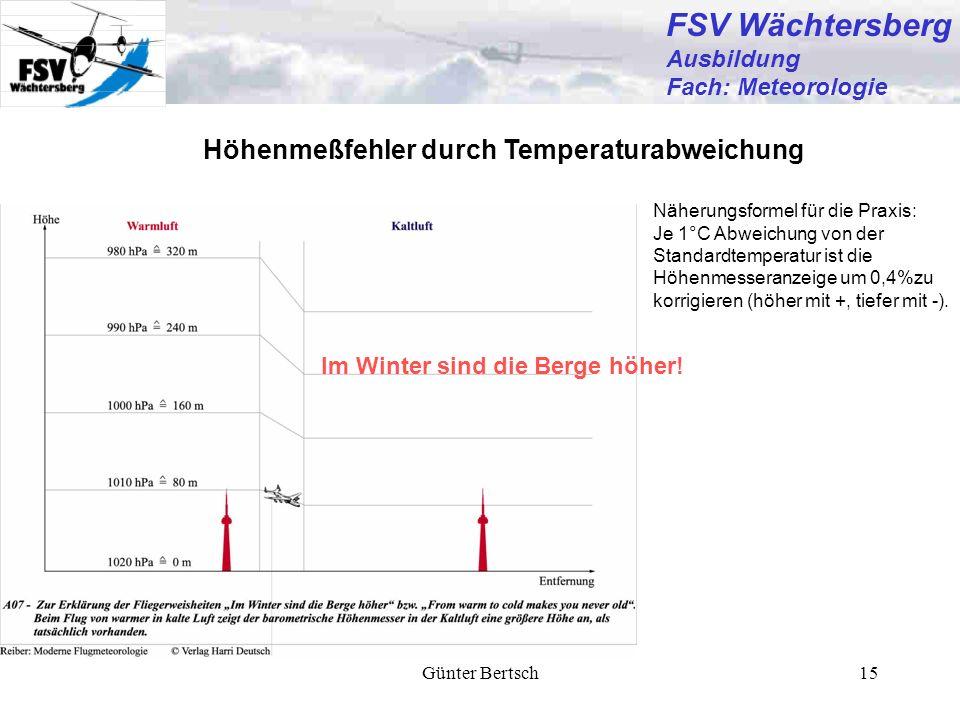 Günter Bertsch15 Höhenmeßfehler durch Temperaturabweichung Näherungsformel für die Praxis: Je 1°C Abweichung von der Standardtemperatur ist die Höhenm