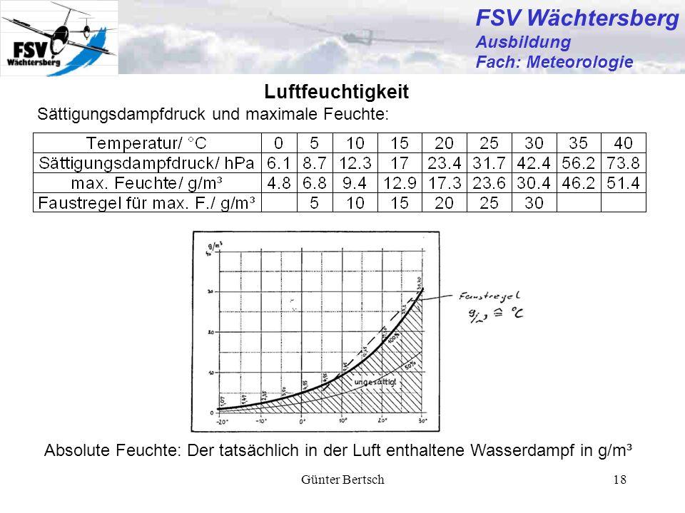 Günter Bertsch18 Luftfeuchtigkeit Sättigungsdampfdruck und maximale Feuchte: Absolute Feuchte: Der tatsächlich in der Luft enthaltene Wasserdampf in g