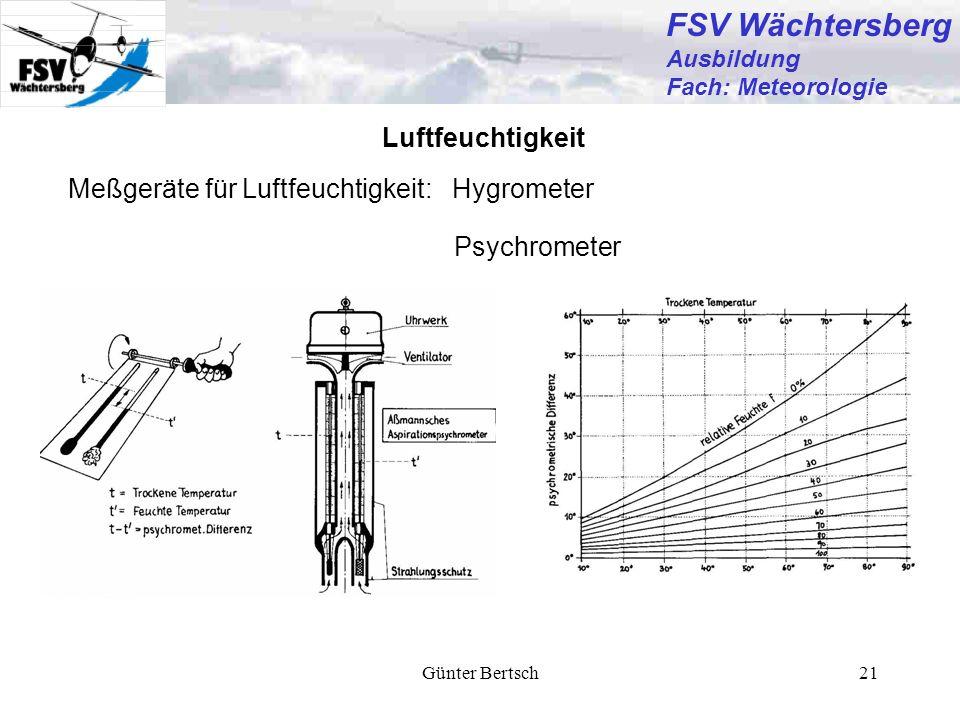 Günter Bertsch21 Luftfeuchtigkeit Meßgeräte für Luftfeuchtigkeit: Hygrometer Psychrometer FSV Wächtersberg Ausbildung Fach: Meteorologie