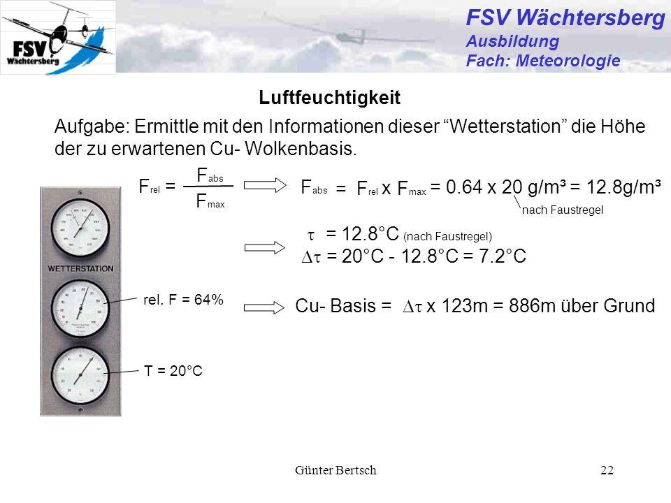 Günter Bertsch22 Luftfeuchtigkeit rel. F = 64% T = 20°C Aufgabe: Ermittle mit den Informationen dieser Wetterstation die Höhe der zu erwartenen Cu- Wo