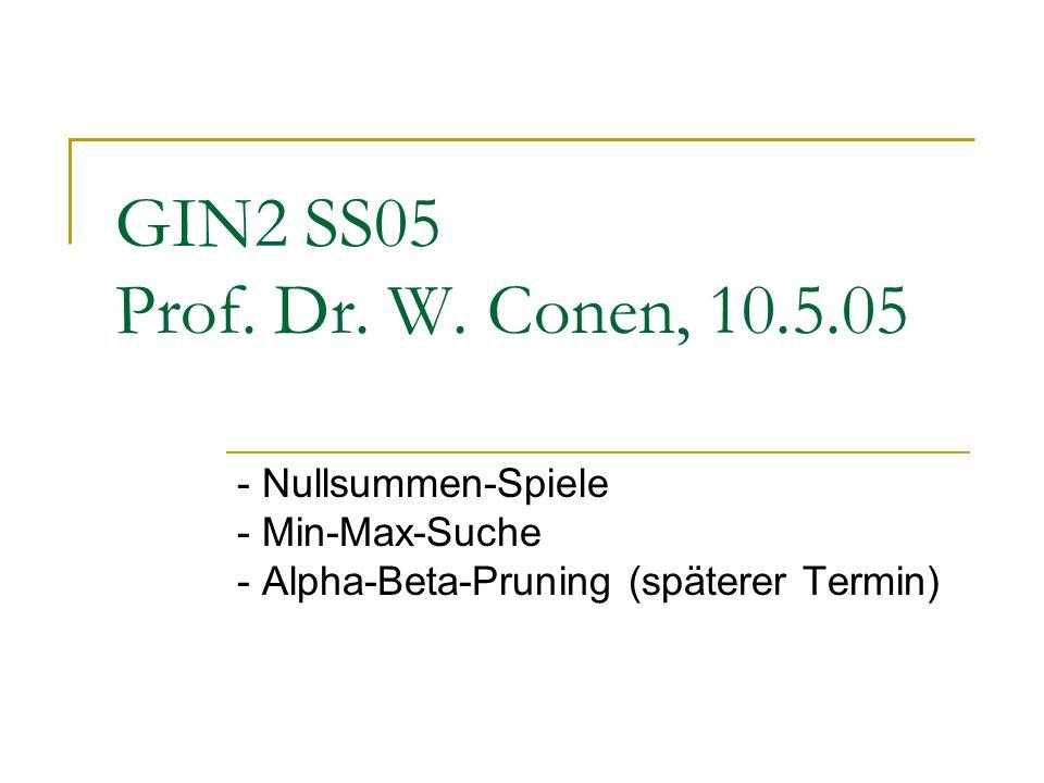 GIN2 SS05 Prof. Dr. W. Conen, 10.5.05 - Nullsummen-Spiele - Min-Max-Suche - Alpha-Beta-Pruning (späterer Termin)
