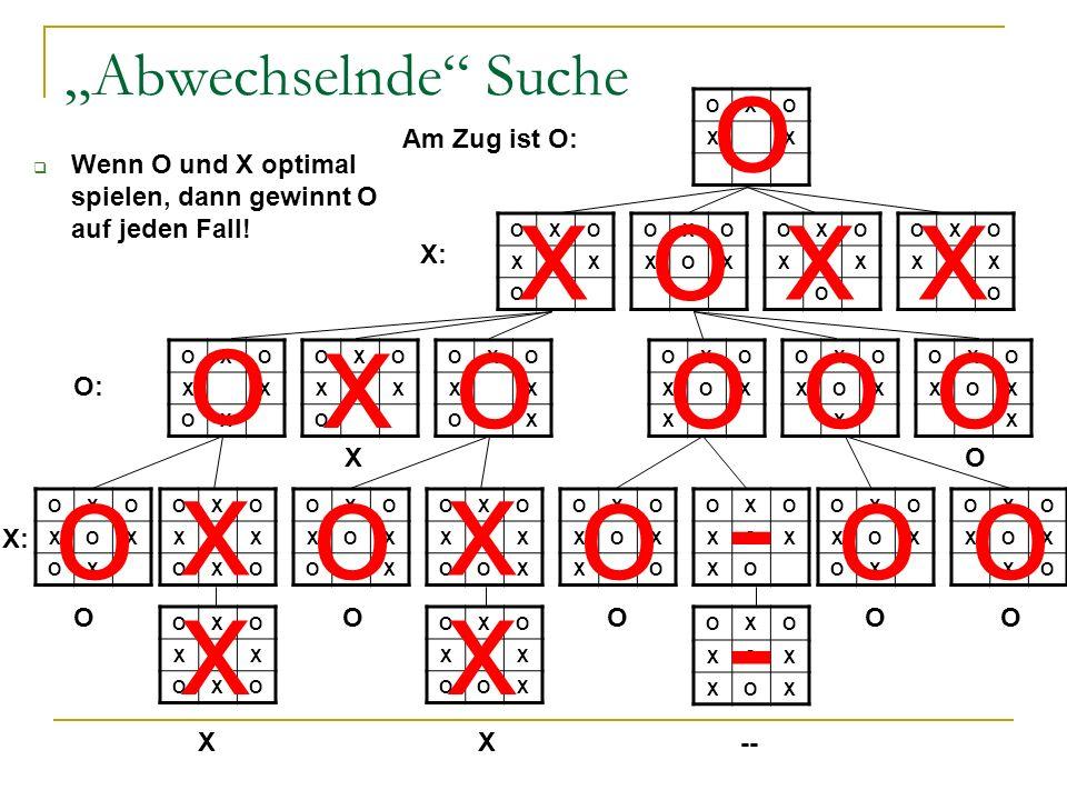 Abwechselnde Suche Wenn O und X optimal spielen, dann gewinnt O auf jeden Fall! OXO XX OXO XX O OXO XOX OXO XX O OXO XX O OXO XX OX OXO XXX O OXO XX O