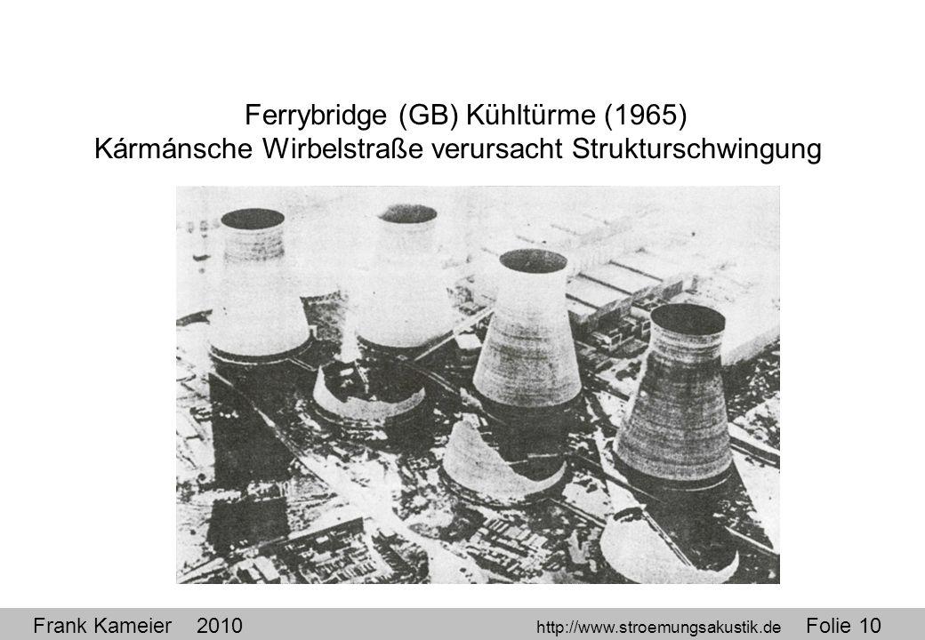 Frank Kameier 2010 http://www.stroemungsakustik.de Folie 10 Ferrybridge (GB) Kühltürme (1965) Kármánsche Wirbelstraße verursacht Strukturschwingung
