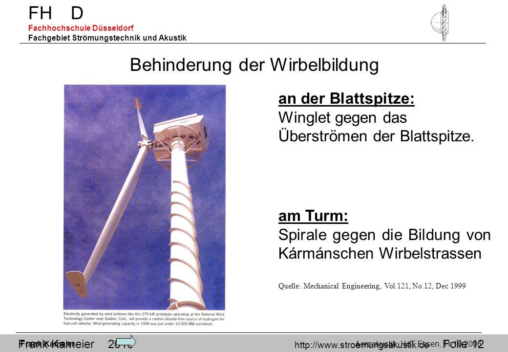 Frank Kameier 2010 http://www.stroemungsakustik.de Folie 12 Behinderung der Wirbelbildung an der Blattspitze: Winglet gegen das Überströmen der Blatts