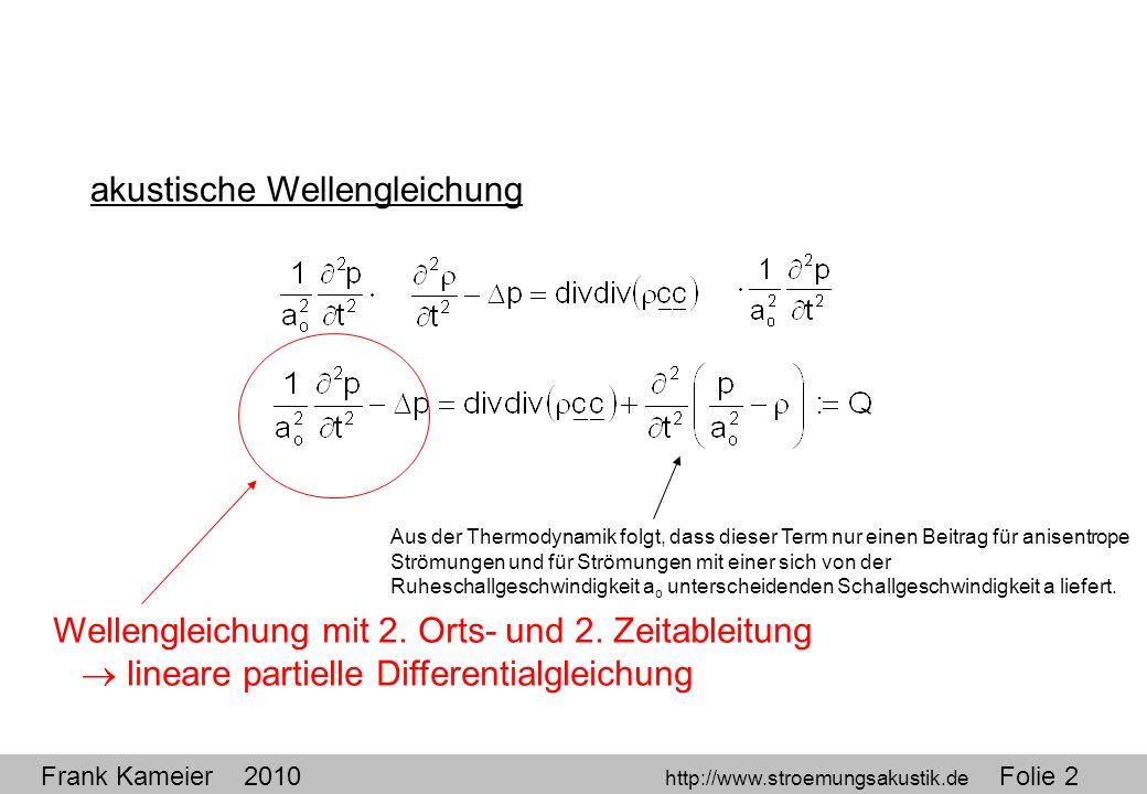 Frank Kameier 2010 http://www.stroemungsakustik.de Folie 2 akustische Wellengleichung Aus der Thermodynamik folgt, dass dieser Term nur einen Beitrag