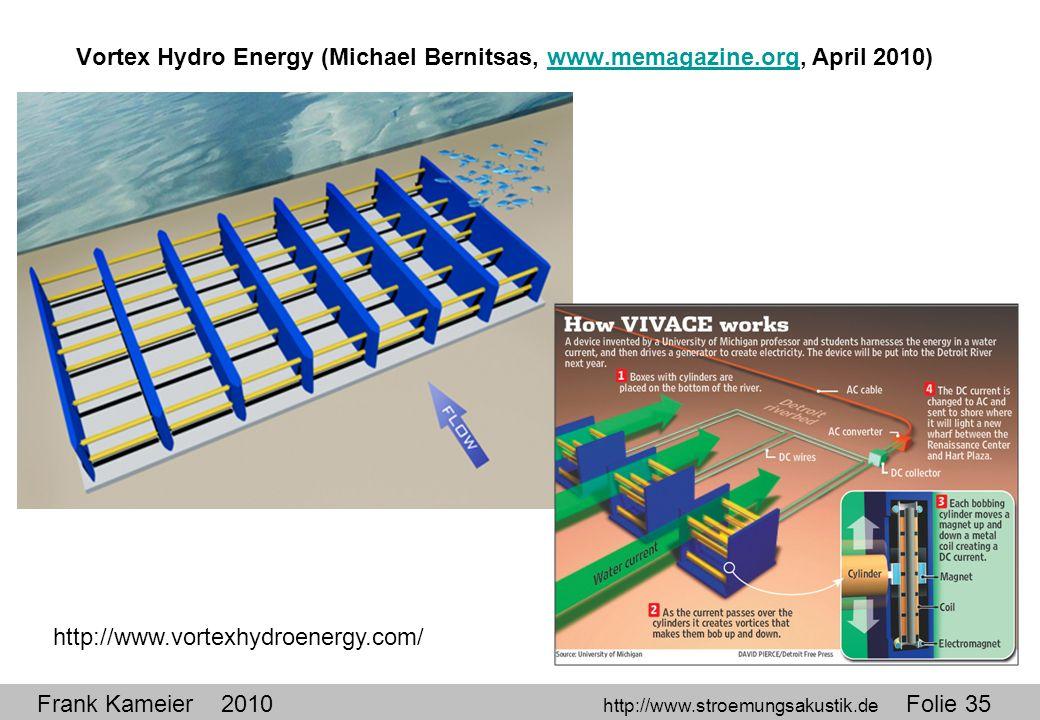 Frank Kameier 2010 http://www.stroemungsakustik.de Folie 35 Vortex Hydro Energy (Michael Bernitsas, www.memagazine.org, April 2010)www.memagazine.org