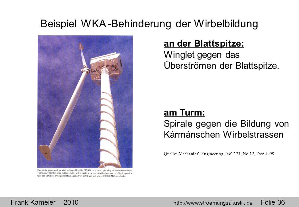 Frank Kameier 2010 http://www.stroemungsakustik.de Folie 36 Beispiel WKA -Behinderung der Wirbelbildung an der Blattspitze: Winglet gegen das Überströ