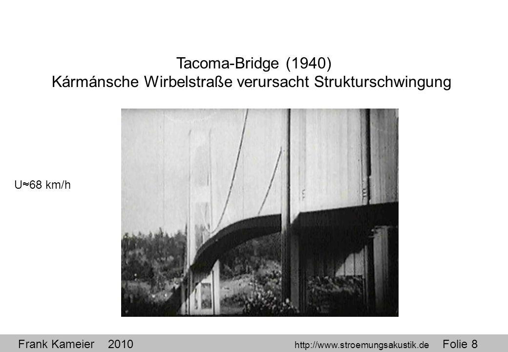 Frank Kameier 2010 http://www.stroemungsakustik.de Folie 8 Tacoma-Bridge (1940) Kármánsche Wirbelstraße verursacht Strukturschwingung U 68 km/h