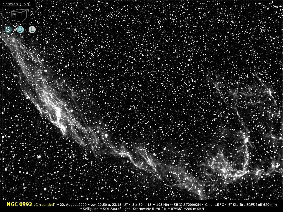 SOL NGC 6992 Cirrusnebel ~ 22.August 2009 ~ zw. 20.50 u.