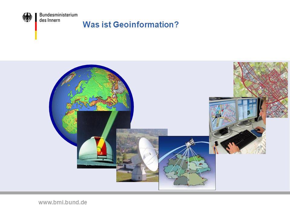 www.bmi.bund.de Grundlage jeder Georeferenzierung: Bereitstellung globaler Referenznetze Das BKG betreibt dafür geodätische Observatorien in BY (Wettzell) in Chile (TIGO) in der Antarktis (OHiggins) Wettzell