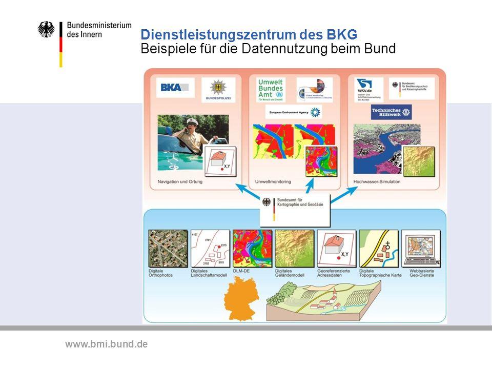 www.bmi.bund.de Dienstleistungszentrum des BKG Beispiele für die Datennutzung beim Bund