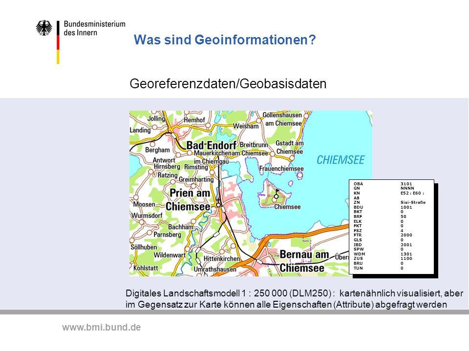 www.bmi.bund.de Was sind Geoinformationen? Georeferenzdaten/Geobasisdaten Digitales Landschaftsmodell 1 : 250 000 (DLM250) : kartenähnlich visualisier