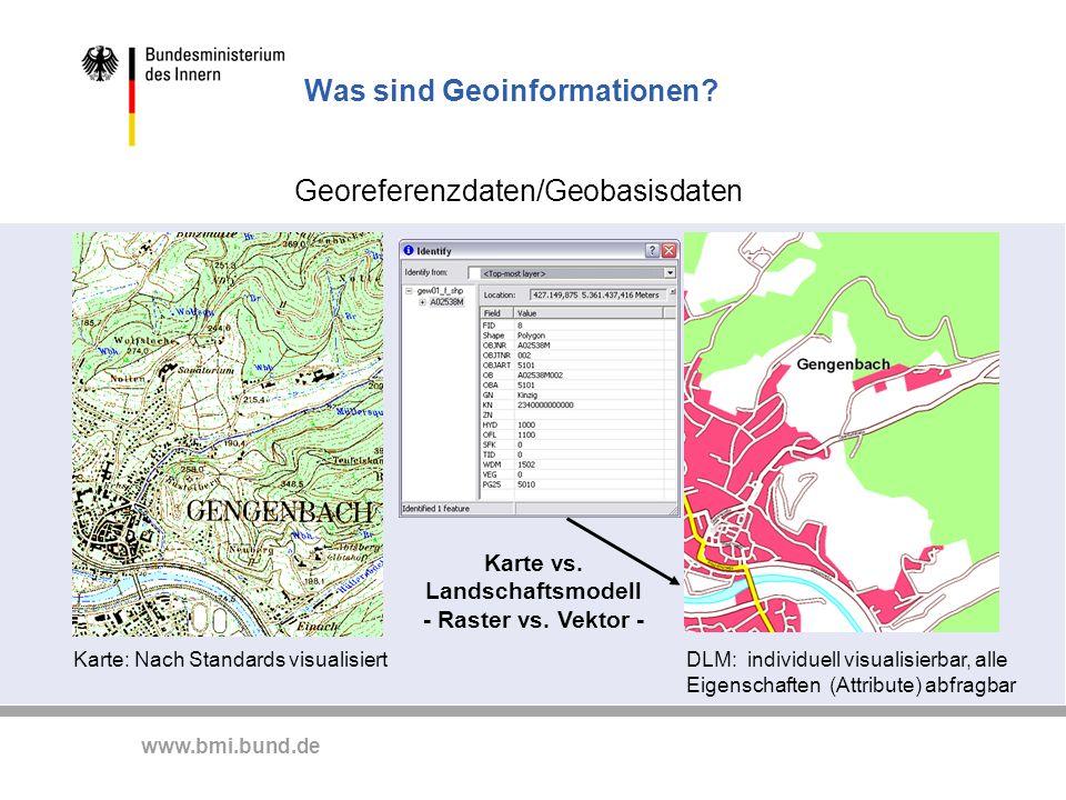 www.bmi.bund.de Was sind Geoinformationen? Georeferenzdaten/Geobasisdaten Karte: Nach Standards visualisiertDLM: individuell visualisierbar, alle Eige