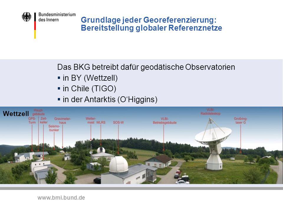 www.bmi.bund.de Grundlage jeder Georeferenzierung: Bereitstellung globaler Referenznetze Das BKG betreibt dafür geodätische Observatorien in BY (Wettz