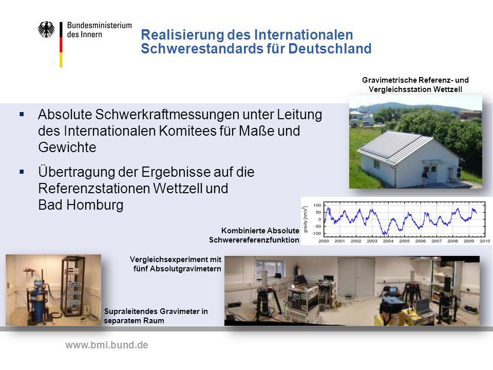 www.bmi.bund.de Realisierung des Internationalen Schwerestandards für Deutschland Supraleitendes Gravimeter in separatem Raum Vergleichsexperiment mit