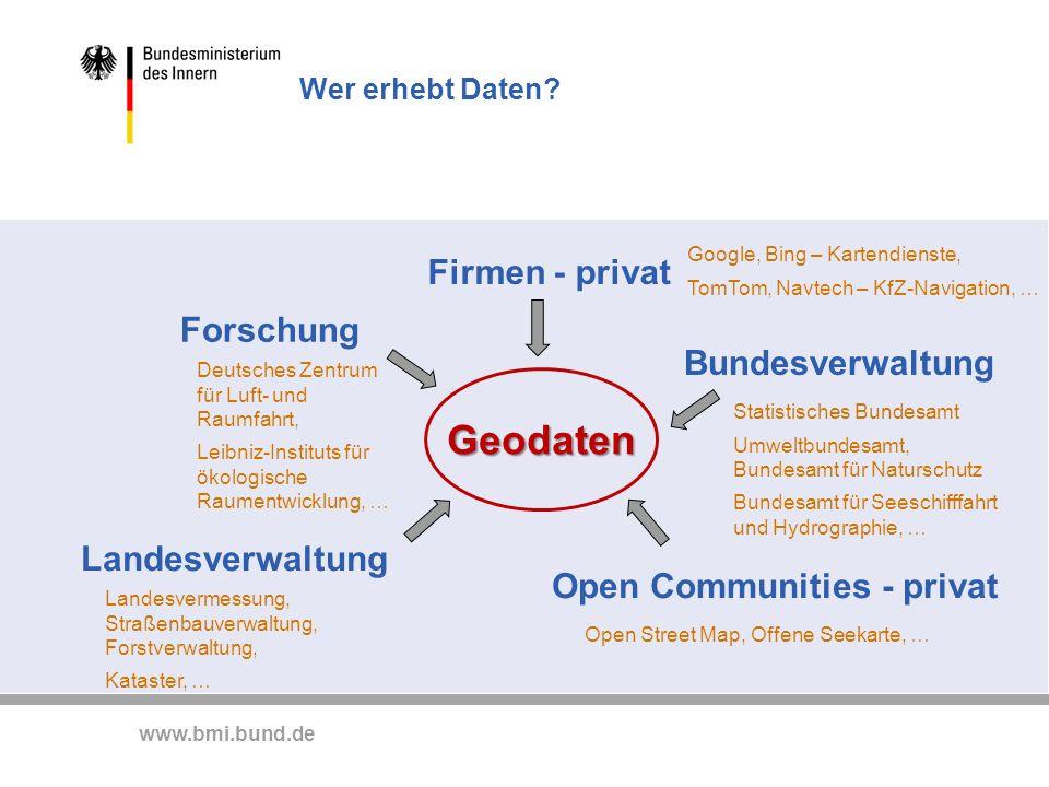 www.bmi.bund.de Wer erhebt Daten? Firmen - privat Landesverwaltung Bundesverwaltung Forschung Open Communities - privat Google, Bing – Kartendienste,