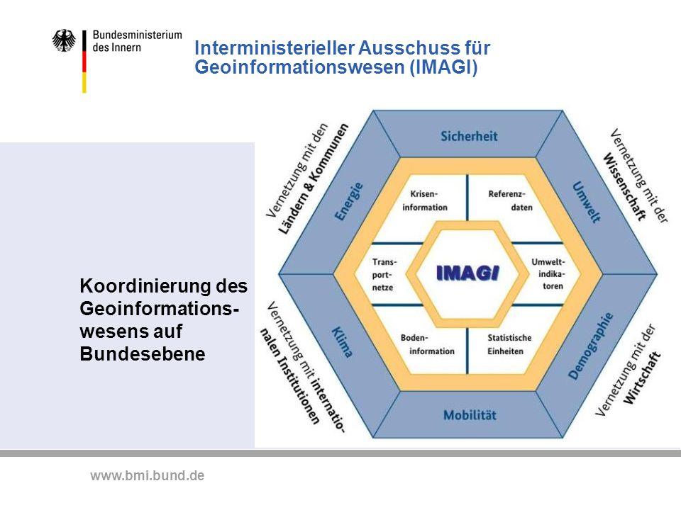 www.bmi.bund.de Interministerieller Ausschuss für Geoinformationswesen (IMAGI) Koordinierung des Geoinformations- wesens auf Bundesebene