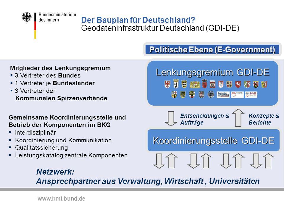 www.bmi.bund.de Der Bauplan für Deutschland? Geodateninfrastruktur Deutschland (GDI-DE) Politische Ebene (E-Government) Politische Ebene (E-Government