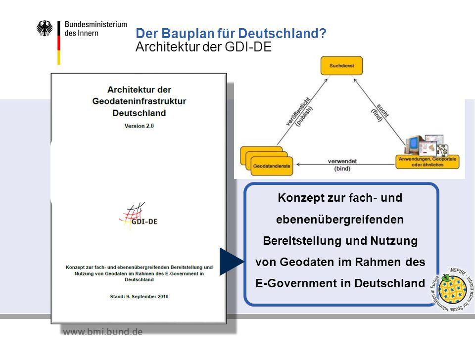 www.bmi.bund.de Konzept zur fach- und ebenenübergreifenden Bereitstellung und Nutzung von Geodaten im Rahmen des E-Government in Deutschland Der Baupl