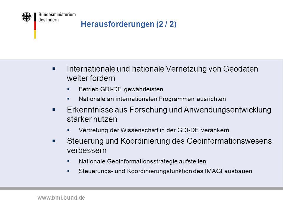 www.bmi.bund.de Herausforderungen (2 / 2) Internationale und nationale Vernetzung von Geodaten weiter fördern Betrieb GDI-DE gewährleisten Nationale a