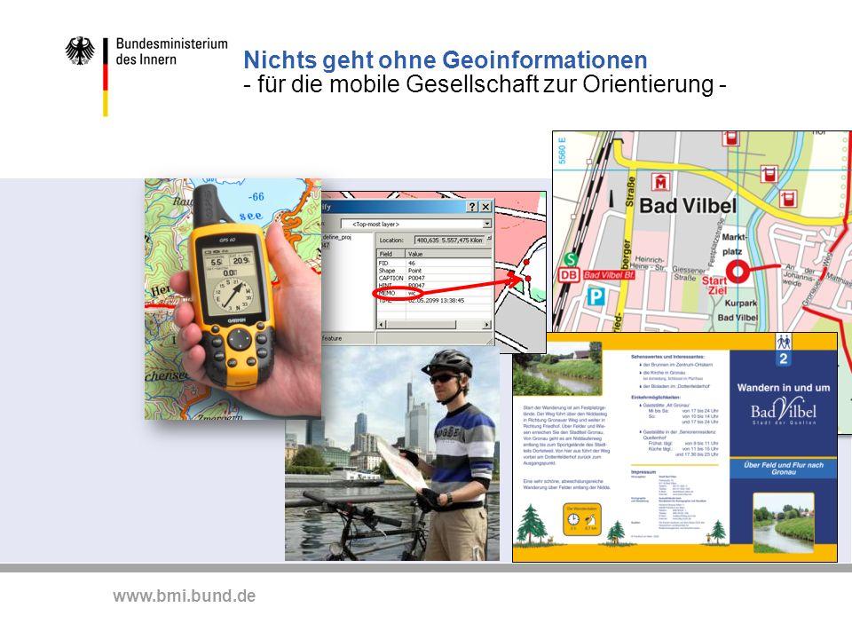 www.bmi.bund.de Konzept zur fach- und ebenenübergreifenden Bereitstellung und Nutzung von Geodaten im Rahmen des E-Government in Deutschland Der Bauplan für Deutschland.