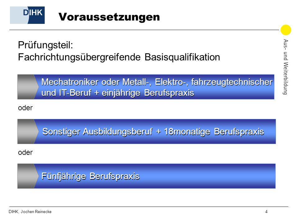 DIHK, Jochen Reinecke 4 Voraussetzungen Mechatroniker oder Metall-, Elektro-, fahrzeugtechnischer und IT-Beruf +einjährige Berufspraxis und IT-Beruf +