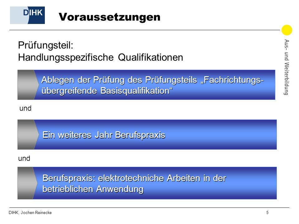DIHK, Jochen Reinecke 5 Voraussetzungen Ablegen der Prüfung des Prüfungsteils Fachrichtungs- übergreifende Basisqualifikation Ein weiteres Jahr Berufs