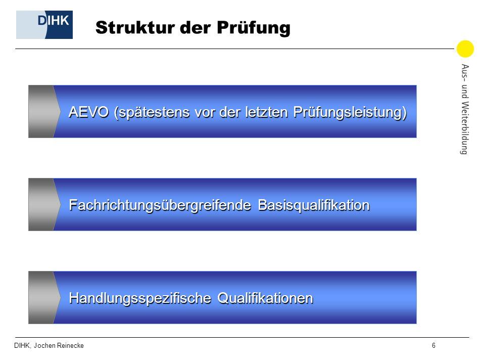 DIHK, Jochen Reinecke 6 Struktur der Prüfung AEVO (spätestens vor der letzten Prüfungsleistung) Fachrichtungsübergreifende Basisqualifikation Handlung